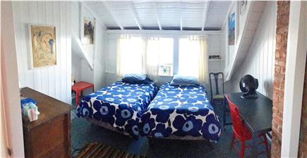 Chilmark, Menemsha Martha's Vineyard vacation rental - Upstairs twin bedroom.Water views. Perfect desk to write. Vintage