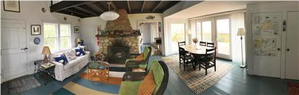 Chilmark, Menemsha Martha's Vineyard vacation rental - Living room&deck outside.Lots of air & light. Windows on 3 sides.