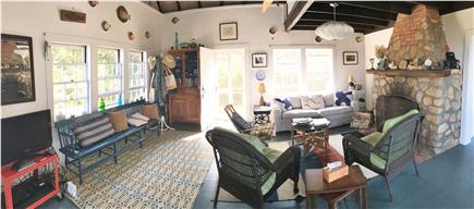 Chilmark, Menemsha Martha's Vineyard vacation rental - Panorama of the Living Room,with one of the house's two fireplace