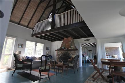 Chilmark, Menemsha Martha's Vineyard vacation rental - Upstairs loft & downstairs fireplace, with cathedral ceiling.