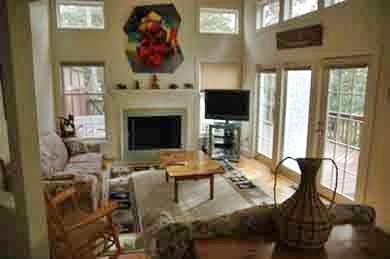 Vineyard Haven Martha's Vineyard vacation rental - Living room with fireplace, flatscreen TV & access to deck