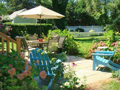 In Town Edgartown Martha's Vineyard vacation rental - Large, landscaped back yard  with patio, BBQ & Outdoor Shower.