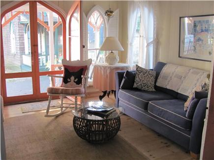 Oak Bluffs Martha's Vineyard vacation rental - Living room opens to front porch with four rockers