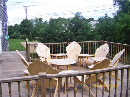 Edgartown Martha's Vineyard vacation rental - Downstairs Deck with 6 Adirondack Chairs and gas grill.