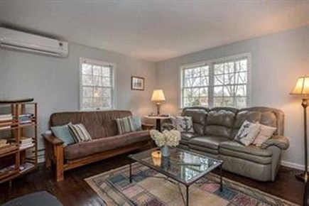 """Edgartown Martha's Vineyard vacation rental - Living Room w/ two couches, futon & 46"""" Sony wall TV"""