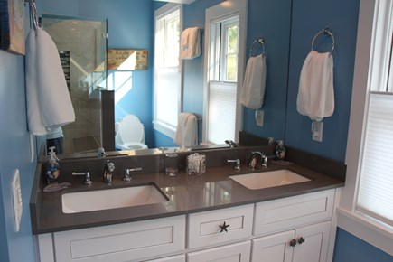 Edgartown Martha's Vineyard vacation rental - Totally new King Master Bath. Large tiled shower and twin sinks