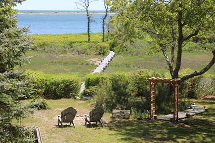 Edgartown Martha's Vineyard vacation rental - Balcony view of the boardwalk to our private island and dock