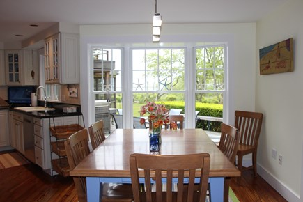 Edgartown Martha's Vineyard vacation rental - Eat-in Kitchen area with lovely water view