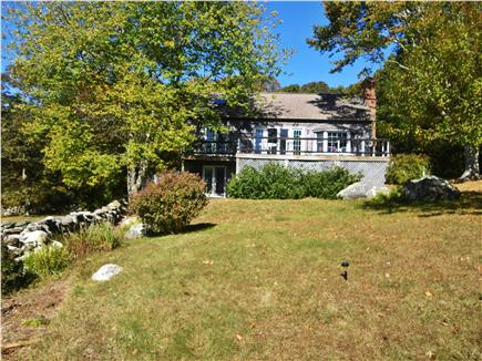 Chilmark Martha's Vineyard vacation rental - View of house and large deck among the trees
