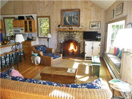 Chilmark Martha's Vineyard vacation rental - Open floor plan, spacious living room area with bay window seat