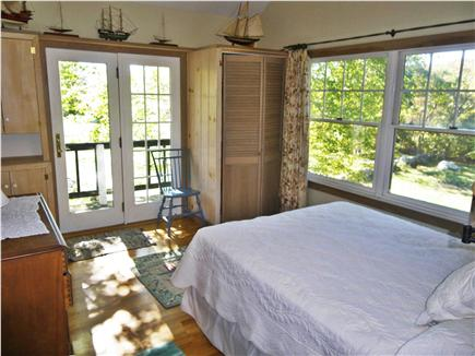 Chilmark Martha's Vineyard vacation rental - Master bedroom with ceiling fan,  plenty of cross ventilation and