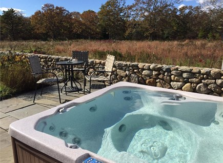 Edgartown Martha's Vineyard vacation rental - Large Private Hot Tub over Looking 2 acre meadow on stone patio