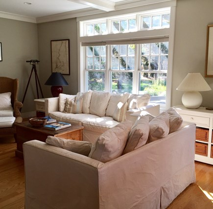 Edgartown Martha's Vineyard vacation rental - Great Room with large TV is always sunny and opens to Kitchen