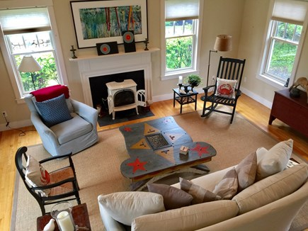 Edgartown Martha's Vineyard vacation rental - Large Downstairs Livingroom opens to Private deck with gardens