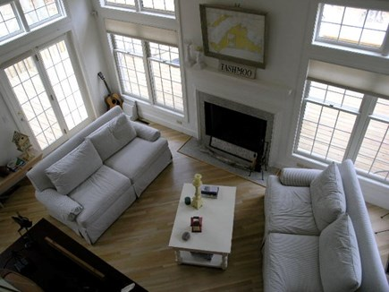 Vineyard Haven Martha's Vineyard vacation rental - Living room opens to large private deck surrounded by trees.