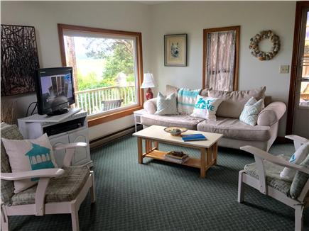 Oak Bluffs Martha's Vineyard vacation rental - Sunny living room with large window looking towards the pond.
