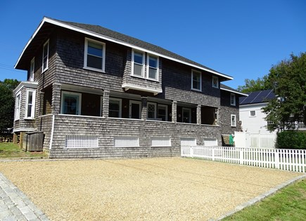 Vineyard Haven Martha's Vineyard vacation rental - Back of house w/ large porch, parking area, and view of the water