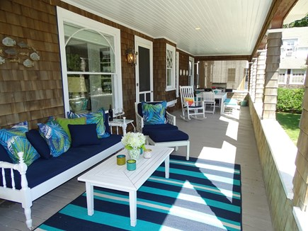 Vineyard Haven Martha's Vineyard vacation rental - Porch, table for 10, swing, extra seating & SS grill