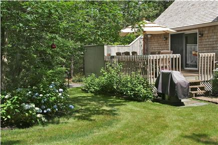 Edgartown Martha's Vineyard vacation rental - Backyard with view of deck and grill