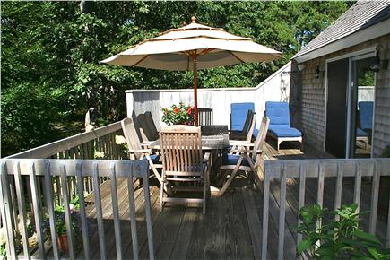 Edgartown Martha's Vineyard vacation rental - Sunny Deck with Large Dining Table and Lounge Chairs