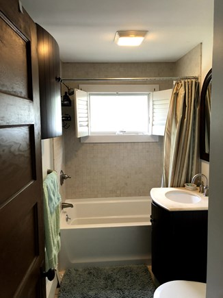Vineyard Haven Martha's Vineyard vacation rental - Soaking tub bathroom with view of treetops