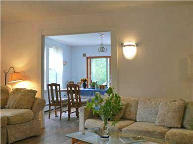 Vineyard Haven Martha's Vineyard vacation rental - Living room view to dining room and deck