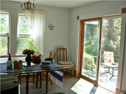 Vineyard Haven Martha's Vineyard vacation rental - View from dining room to deck and back yard