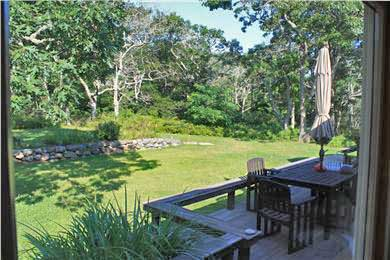 Chilmark Martha's Vineyard vacation rental - View of deck and rear yard from Kitchen