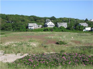 Menemsha (Chilmark) Martha's Vineyard vacation rental - View  of house from Menemsha Beach - first house from left