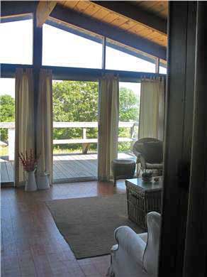 Aquinnah Martha's Vineyard vacation rental - Living Room and view to front yard and ocean beyond