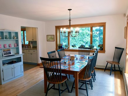 Oak Bluffs Martha's Vineyard vacation rental - Dining area with bay window and door to deck