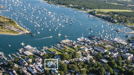 Edgartown Martha's Vineyard vacation rental - Aerial View of the house and Edgartown Harbor looking South
