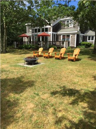 West Tisbury, Deep Bottom Pond Martha's Vineyard vacation rental - Adirondack Chairs, Fire Pit and Rear Deck