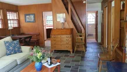 Edgartown Martha's Vineyard vacation rental - Dng area & kitchen on left, bath straight, & Common Rm to right
