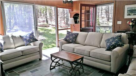 Edgartown Martha's Vineyard vacation rental - Living room with new flatscreen TV and Jotul wood stove