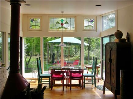 West Tisbury  near State Fores Martha's Vineyard vacation rental - View of dining area looking out to yard