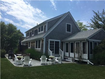 Oak Bluffs Martha's Vineyard vacation rental - Slate patio with gas grill plus outdoor shower
