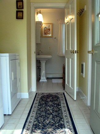 Edgartown village Center Martha's Vineyard vacation rental - Entrance/Laundry/full bath, Kitchen to RT w/ Pocket Door