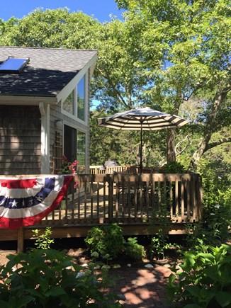 Edgartown Martha's Vineyard vacation rental - Deck with dappled summer sunshine...