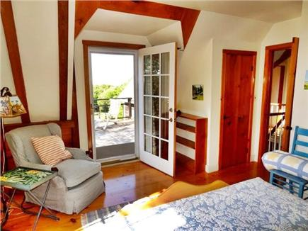 Aquinnah Martha's Vineyard vacation rental - Upstairs west-facing queen bedroom, shared upper deck, waterview