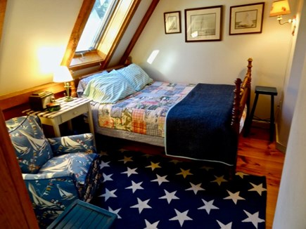 Aquinnah Martha's Vineyard vacation rental - Upstairs cozy bedroom, double bed, skylight, leads to master