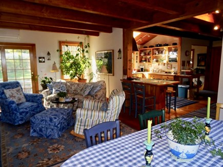 Aquinnah Martha's Vineyard vacation rental - Dining area, Family Room, flows to kitchen, door to south deck
