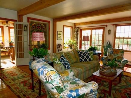 Aquinnah Martha's Vineyard vacation rental - Living room, spacious, comfortable, and creatively furnished