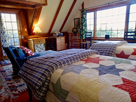 Aquinnah Martha's Vineyard vacation rental - Upstairs twin bedroom, shared upper deck, waterview