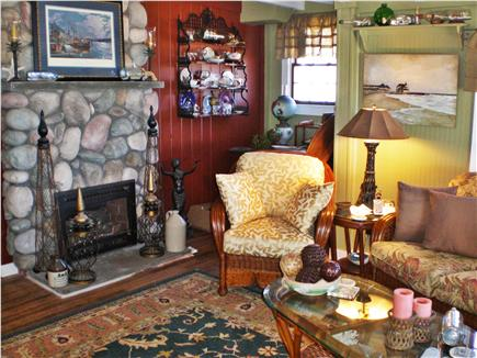 Oak Bluffs, Sea View Ave. just out of town Martha's Vineyard vacation rental - Living Room with stone fireplace