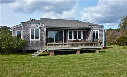 Chilmark Martha's Vineyard vacation rental - Front deck and yard facing pond & barrier beach dunes