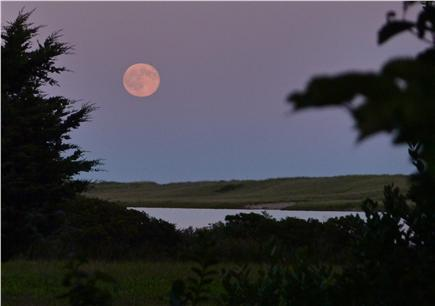 Chilmark Martha's Vineyard vacation rental - Moonrise over Chilmark Pond from house deck