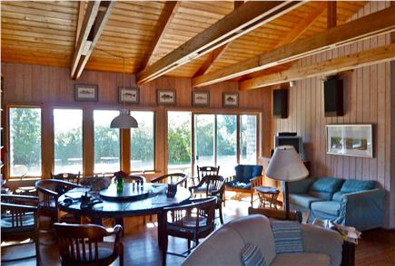 Chilmark Martha's Vineyard vacation rental - Great room facing toward deck and pond