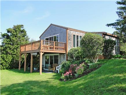 Oak Bluffs, Lagoon Pond Martha's Vineyard vacation rental - Back yard with gardens and lower patio seating area
