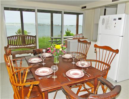 Oak Bluffs, Lagoon Pond Martha's Vineyard vacation rental - Dining area with slider to back yard and ocean views